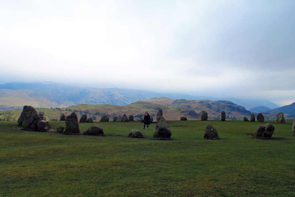Krysta, Barboured and Huntered out, in the stone circle; Castlerigg.