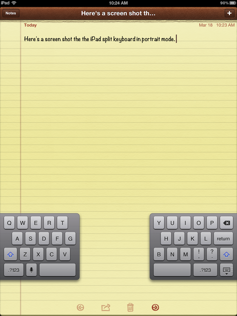 iPad split keyboard in portrait mode.