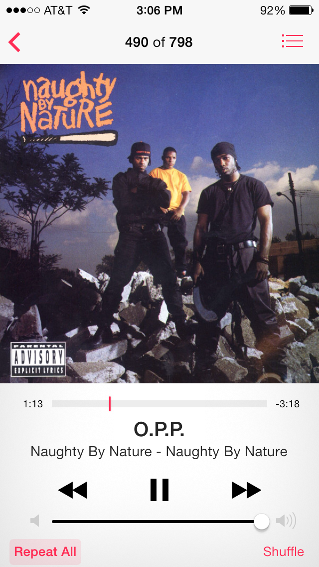 "Along the way, we discovered that Sandra had never, ever heard the song O.P.P. by the one and only Naughty by Nature. Obviously, we had to rectify this situation immediately, and Laura bought the single on iTunes.     Yes, Sandra was scandalized when we told her what ""O.P.P."" stood for."