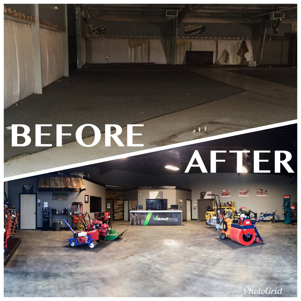 One of the many before and after shots of the renovations that were achieved at the LaGrange location of Nickell Rental.