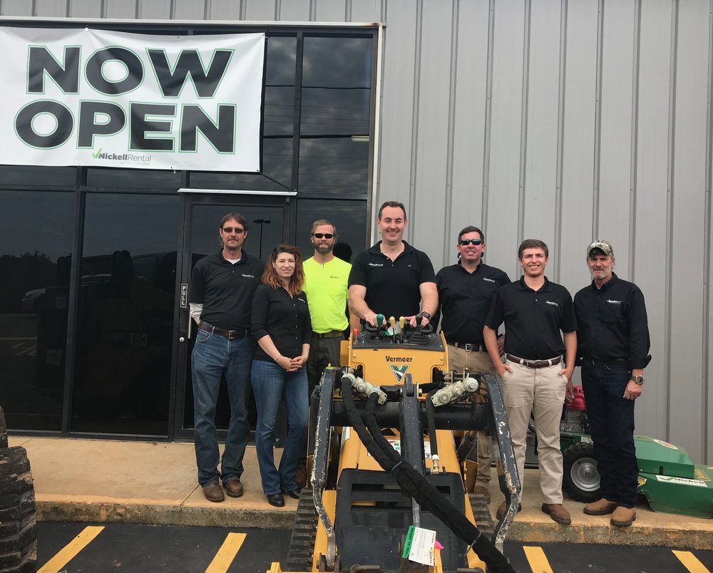 Josh Nickell, center, with his team at the Grand Opening of his 4th Nickell Rental location in LaGrange, GA. This location recently won the ARA President's Image Award for 2018.