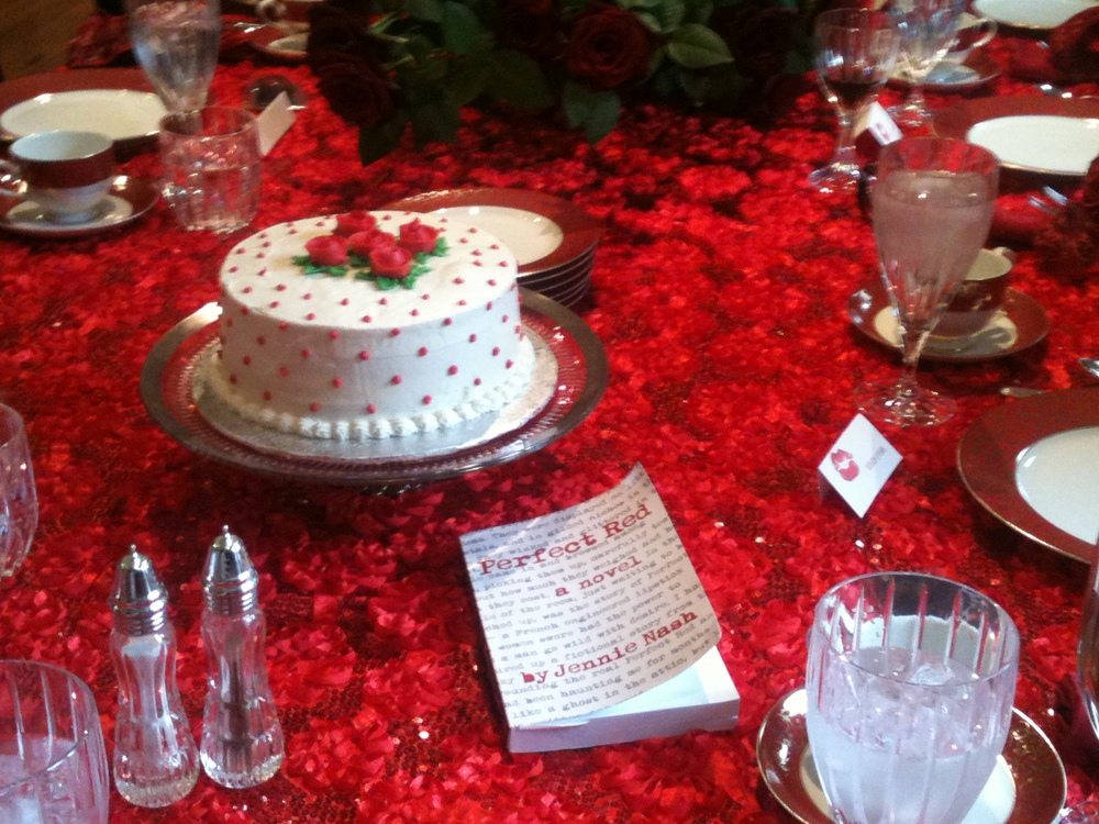 At a recent  Perfect Red  bookclub, there was red velvet cake, killer lipstick stilettos, and even the dog was wearing red! It was a p-a-r-t-y!