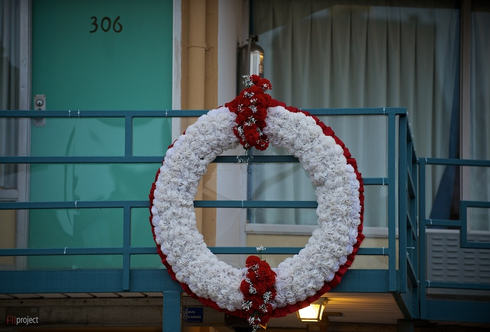 A wreath marks the spot where Dr. King was standing when he was struck.
