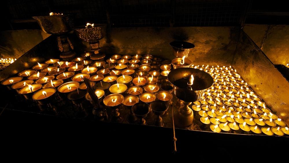 Butter lamps. Kathmandu, Nepal.