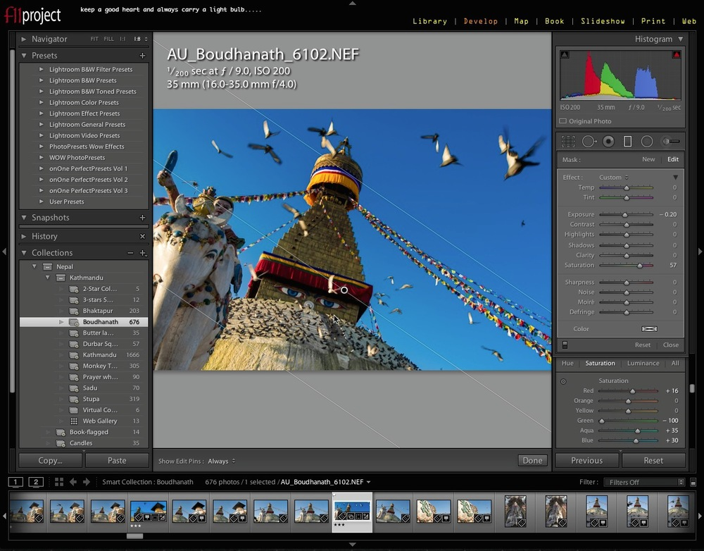 Adobe Lightroom 5 Develop Module.  Image copyright © Louis Au 2014