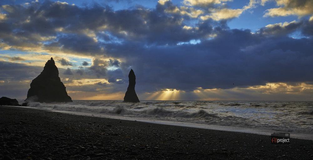 Black sand beach at Vik, South Iceland.