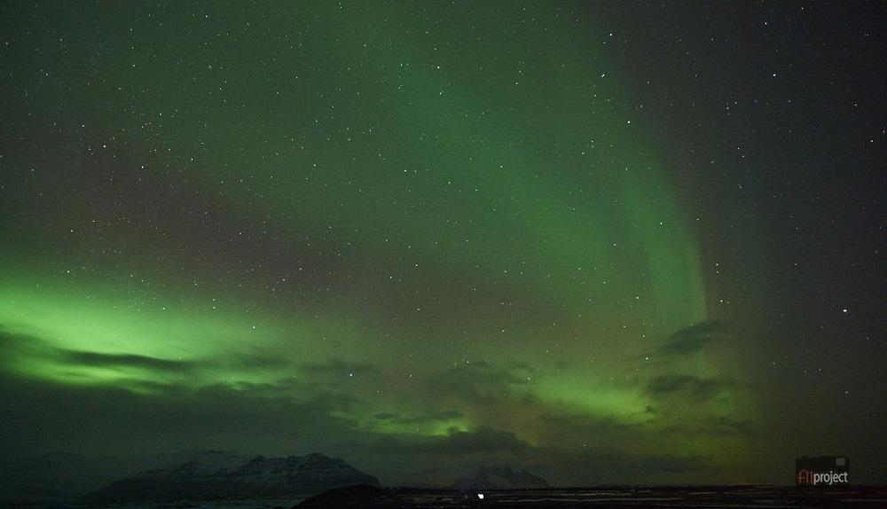 Northern Lights at Jökulsárlón, South Iceland.