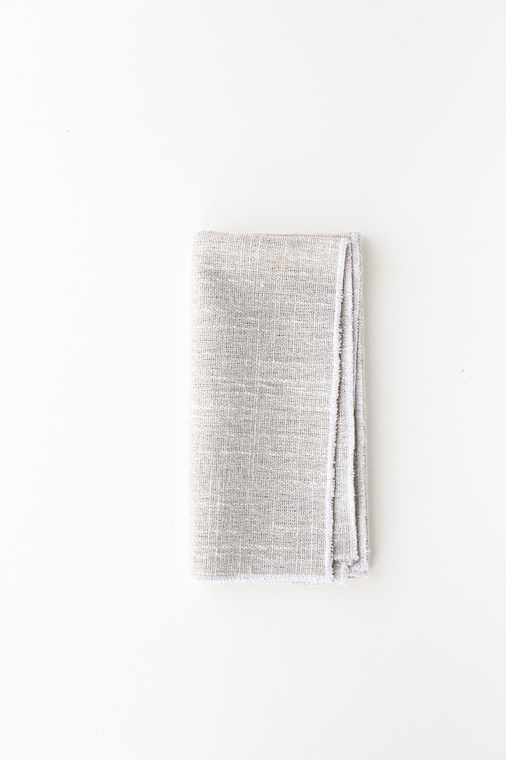 grey linen with white edge