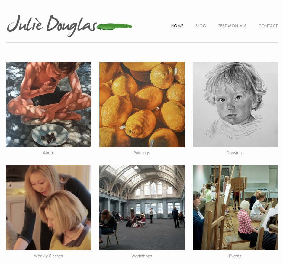Web site created for Belfast artist Julie Douglas.