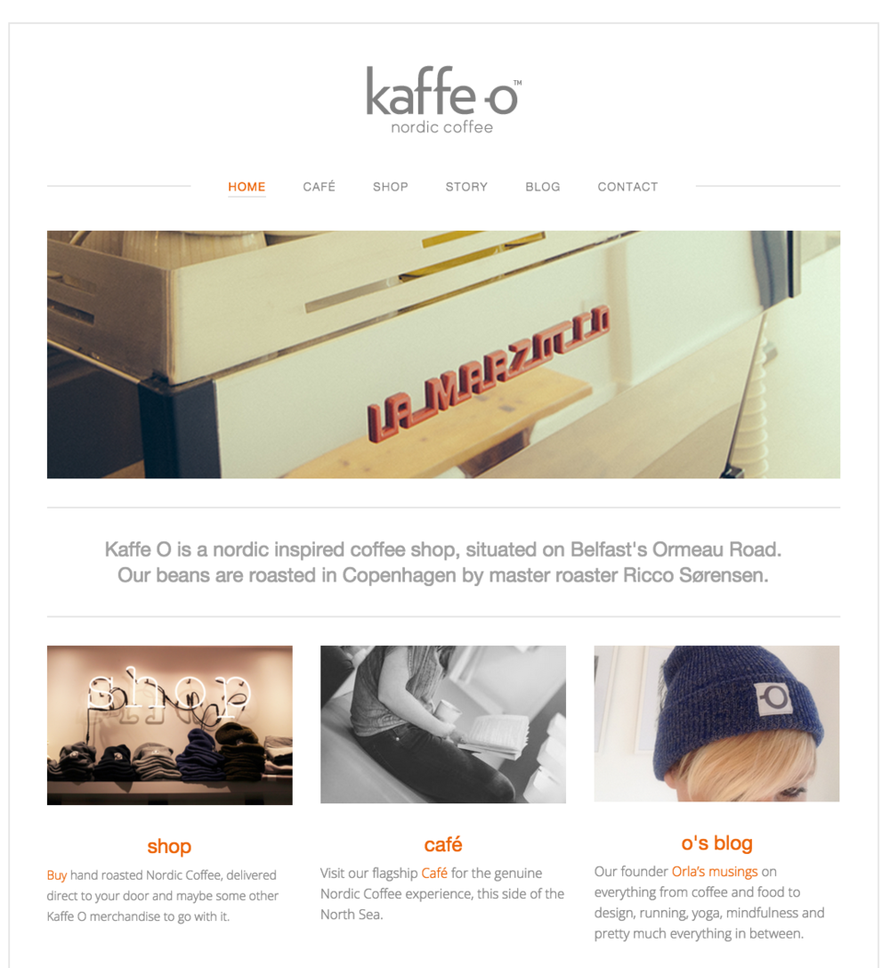 Ecommerce site built for cool Belfast coffee shop Kaffe O.
