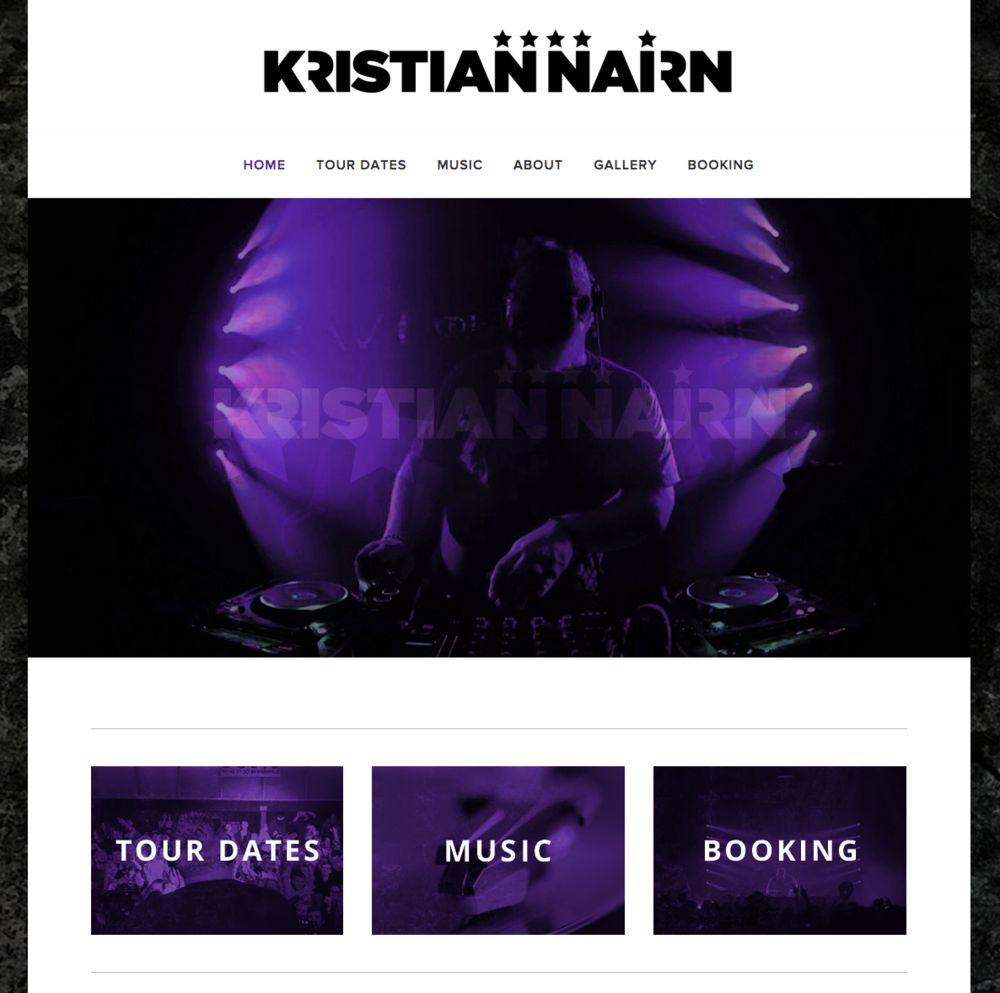 Game of Thrones star and international DJ Kristian Nairn's web site; which includes up to date tour info and Soundcloud attachments.