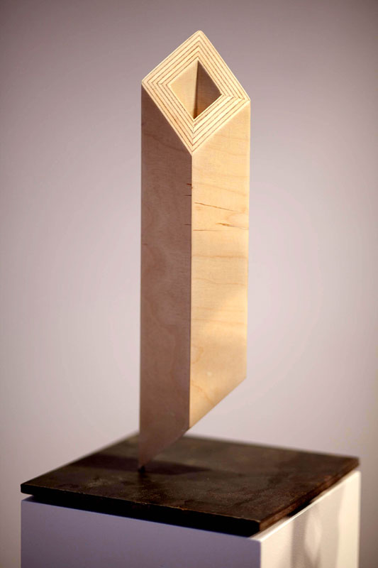 Diamond Section 2011 Birch ply and steel 11.8 x 7.8 x 7.8 in. (30 x 20 x 20 cm) RPH0002  ENQUIRE ABOUT THIS WORK