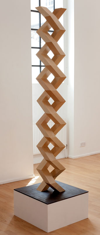 Double Helix 2011 Birch ply and steel 90.5 x 23.6 x 23.6 in. (230 x 60 x 60 cm) RPH0003  ENQUIRE ABOUT THIS WORK