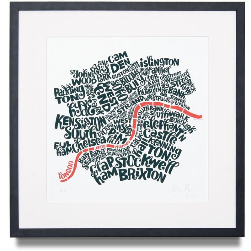 Map of Central London Edition Colour: Teal and Peach Artist Proof Edition of 20 Screen print (Framed) 14.9 x 14.9 in. (38 x 38 cm)    ENQUIRE ABOUT THIS WORK