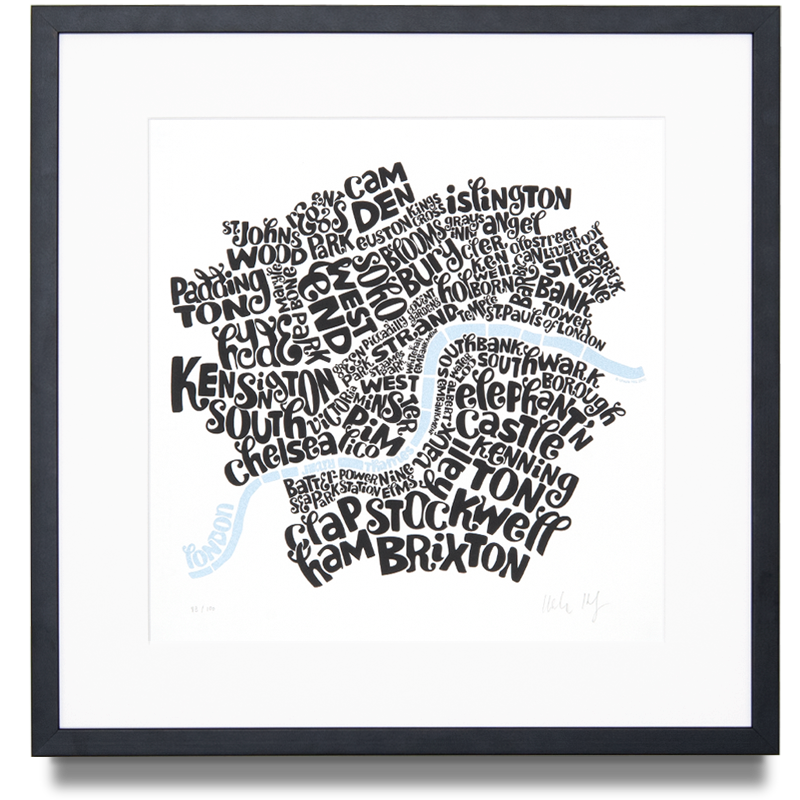 Map of Central London Edition Colour: Black and Pearl Limited Edition of 100 Screen print (Framed) 14.9 x 14.9 in. (38 x 38 cm) •
