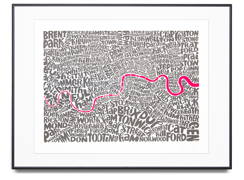 Map of Central London - Medium Edition Colour: Fluorescent Pink and Grey Limited Edition of 100 Screen print (Framed) 31.4 x 23.6 in. (80 x 60 cm) •