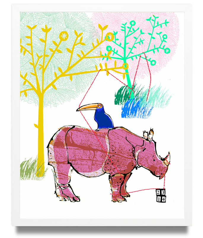 Rhino Limited Edition of 50 Pigment ink on archival paper (Framed) 15.7 x 19.6 in. (40 x 50 cm) JPO0159 £115.00   ENQUIRE ABOUT THIS WORK