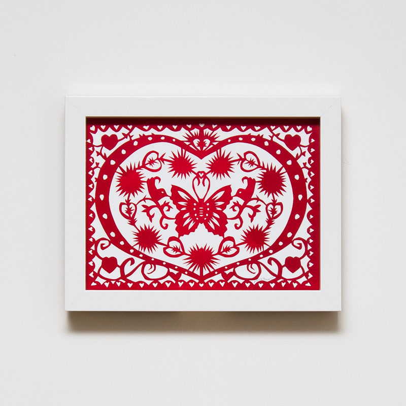 Love Heart Paper Cut (Framed) (33 x 43 cm) AHO0037  ENQUIRE ABOUT THIS WORK