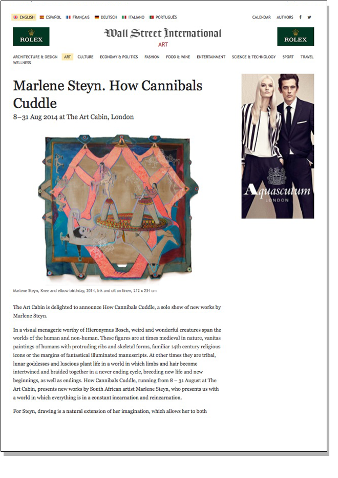 MARLENE STEYN HOW CANNIBALS CUDDLE Wall Street International August 2014