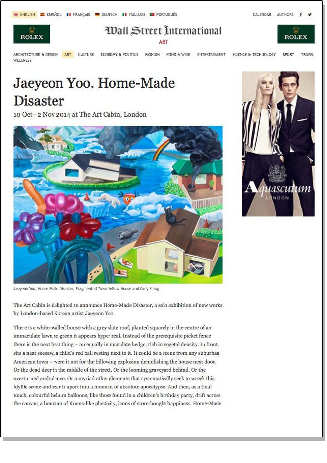 JAEYEON YOO HOME-MADE DISASTER Wall Street International September 2014