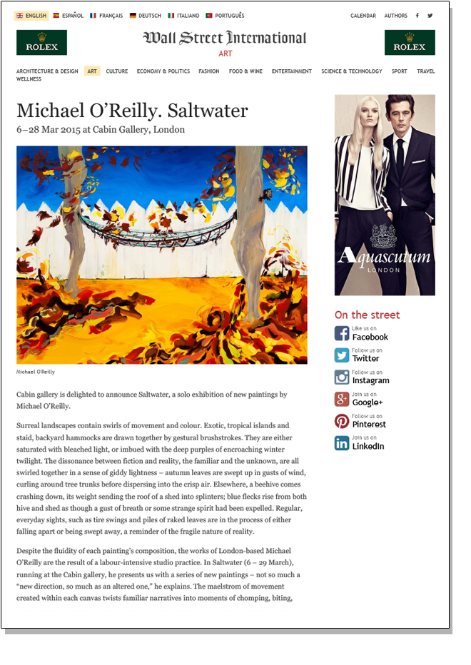 MICHAEL O'REILLY SALTWATER Wall Street International March 2015
