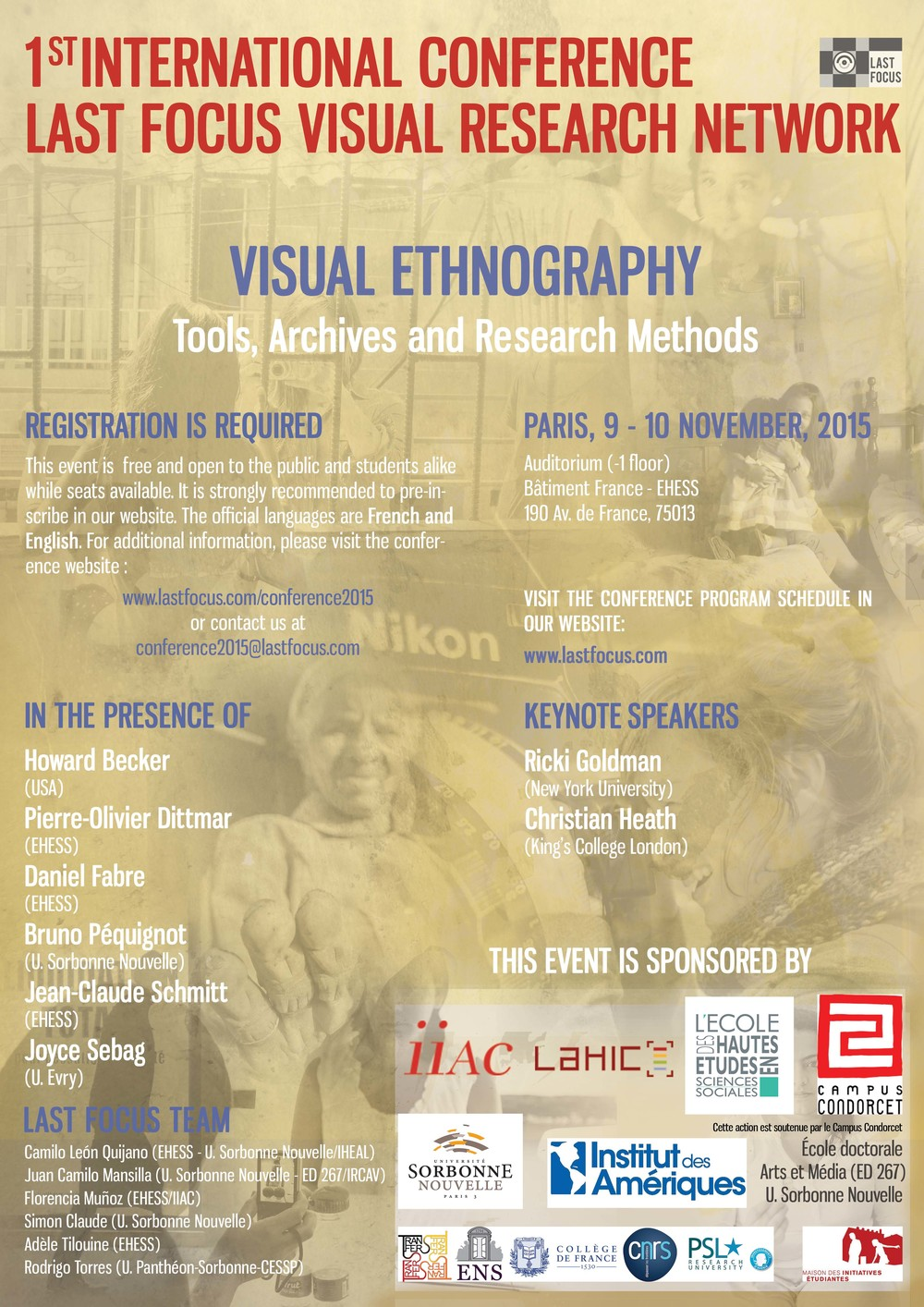 "lfvrn international conference 2015 - ""visual ethnography: tools, archives and research methods""    Paris, 2015 - ecole des hautes etudes en sciences sociales"