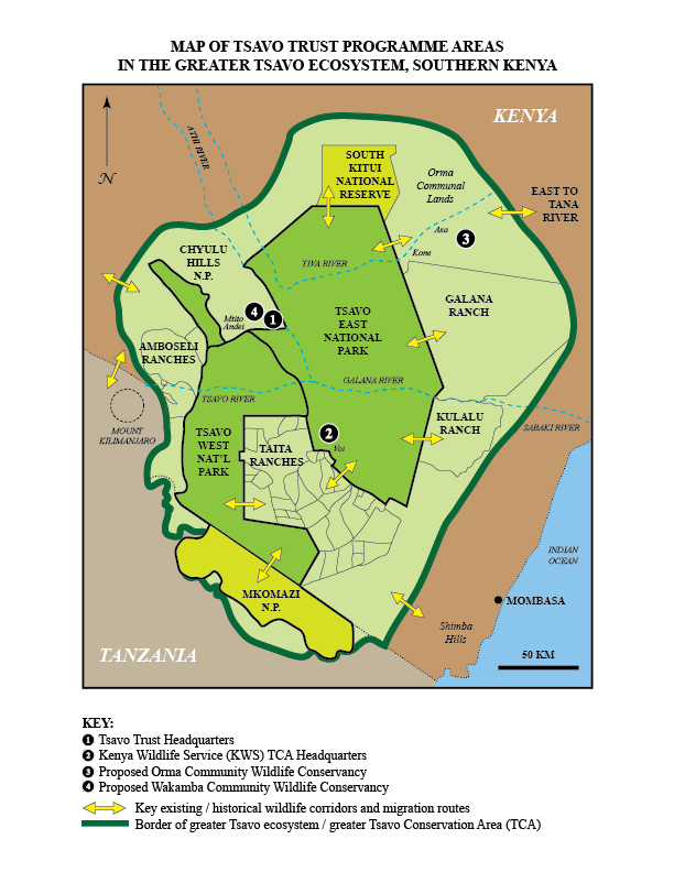Map of the greater Tsavo Conservation Area, showing Tsavo Trust's headquarters and its programme areas. (Please click on the map to see a larger version.)