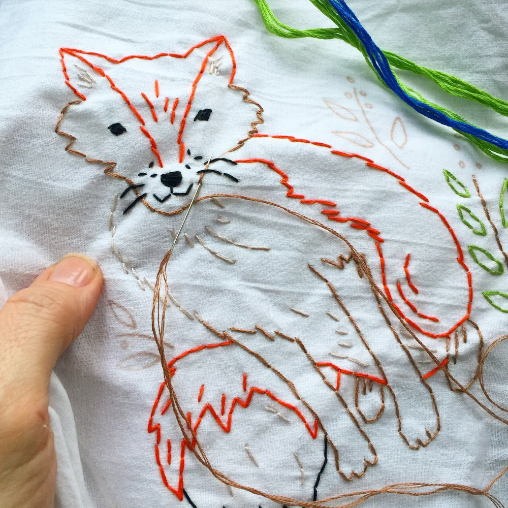 Fox Tea Towel Kit in progress in the car.