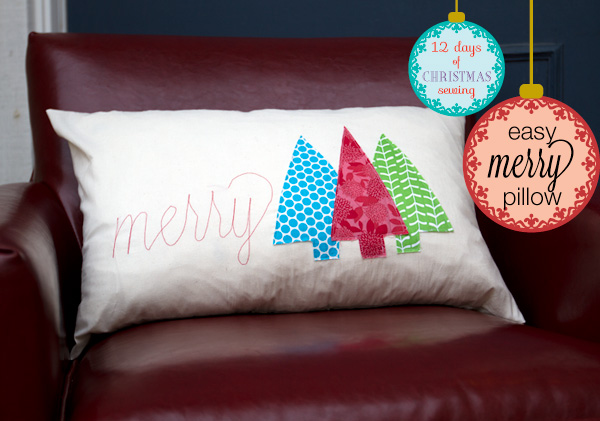 Easy Merry Holiday Pillow from the Train to Crazy