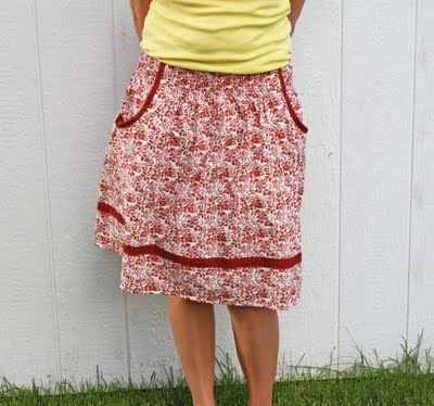 Running with scissors shirred pocket skirt with pockets