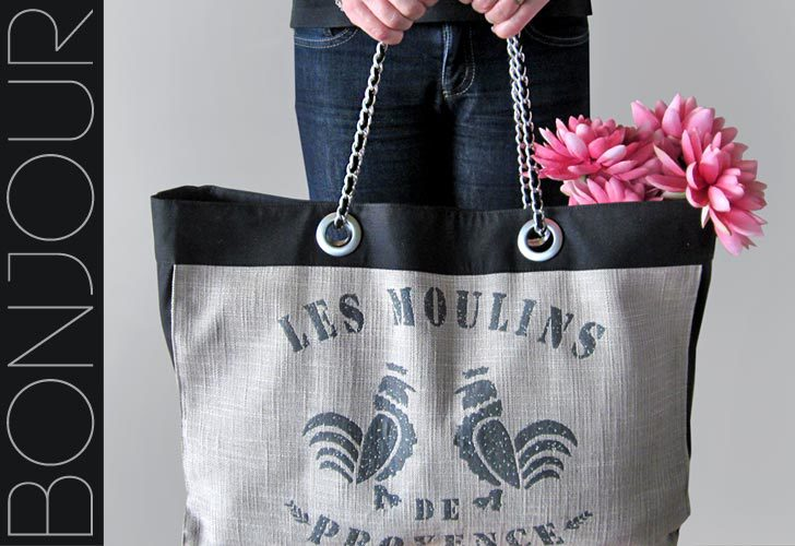 French Market Tote With Coco Chanel Style Chain Handles from Sew 4 Home