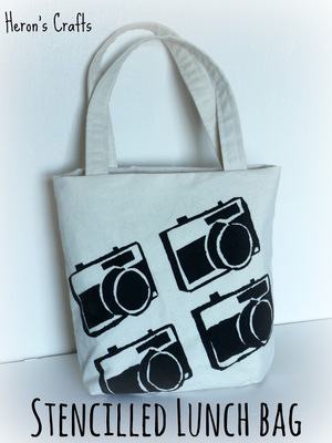 Freezer Paper Stencilled Lunch Bag by Heron's Crafts