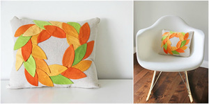 Fall Wreath Pillow from V. and Co.