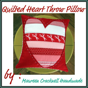 Quilted Heart Throw Pillow by Maureen Cracknell