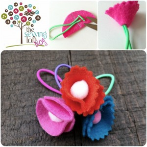 Felt Flower Hair Ponies by The Sewing Loft