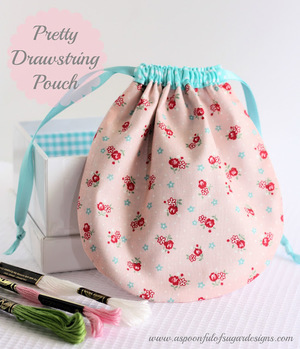 Pretty Drawstring Pouch by Spoonful of Sugar Designs