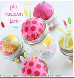 mason jar pincushion by a seasoned Homemaker