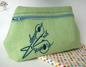 Dangerous With Scissors Zipper Pouch by The Sewing Loft