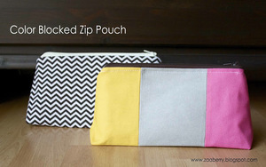 Color Blocked Zip Pouch by Zaaberry
