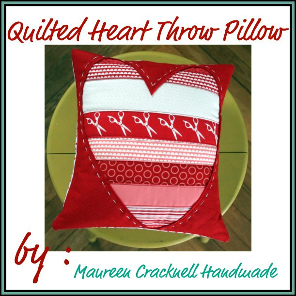 Quilted Heart Throw Pillow by Maureen Cracknell Handmade