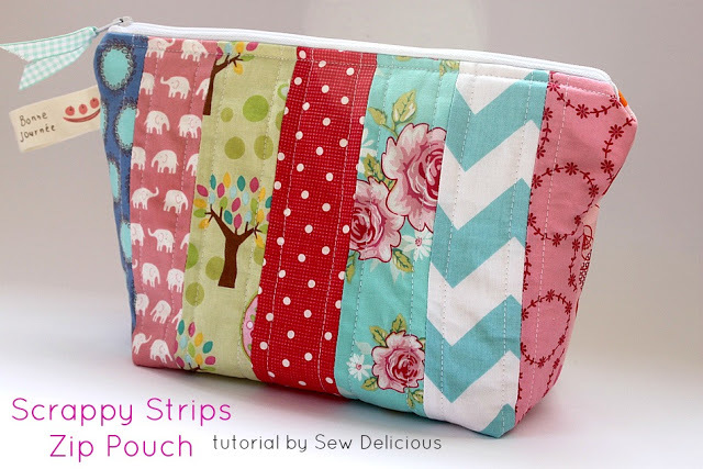 Scrappy Strips Zip Pouch by Sew Delicious
