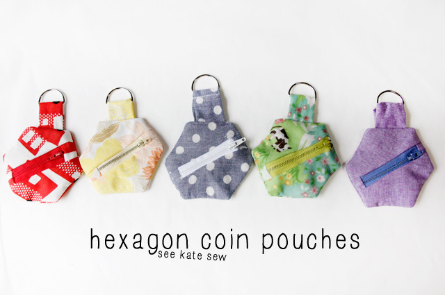 Hexagon Coin Pouches by See Kate Sew