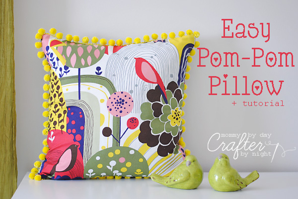 Easy Pom Pom Pillow from Mommy by Day Crafter by Night