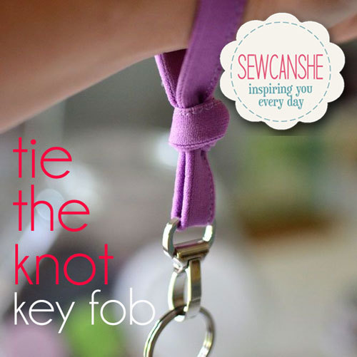 Easy key fob sewing pattern that uses fold over elastic.
