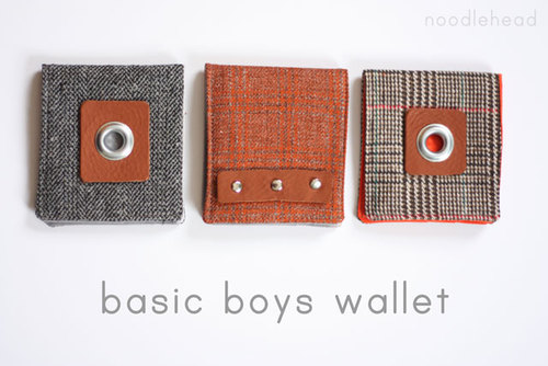 basic boys wallet... free tutorial and pattern from Noodlehead