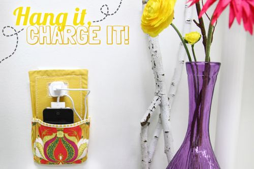 Hang it Charge It free charging station sewing tutorial from Art Gallery Fabrics
