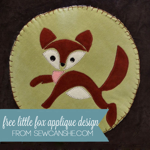 Free Little Fox Applique Design from SewCanShe
