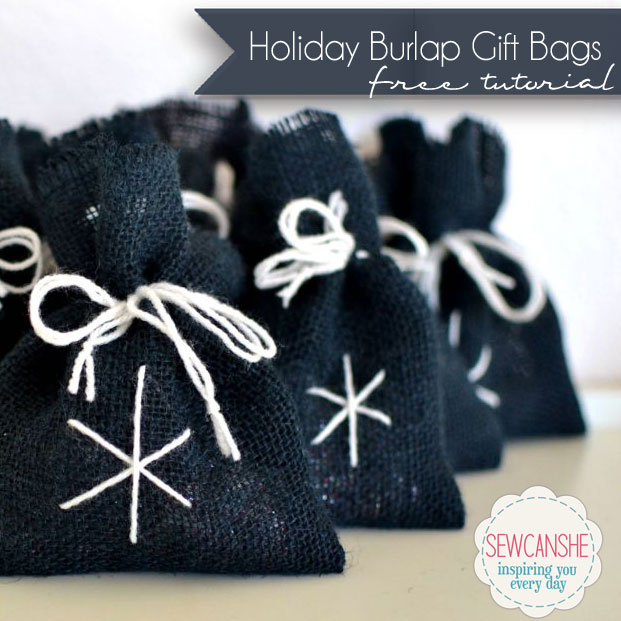 Holiday Burlap Gift Bags