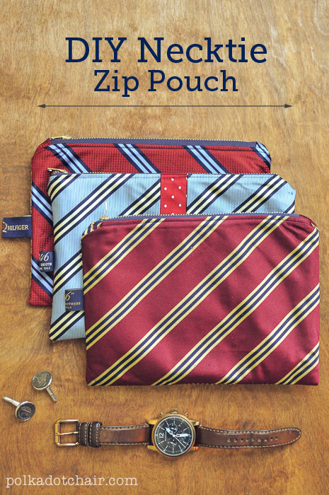 DIY Necktie Zip Pouch from Polka Dot Chair
