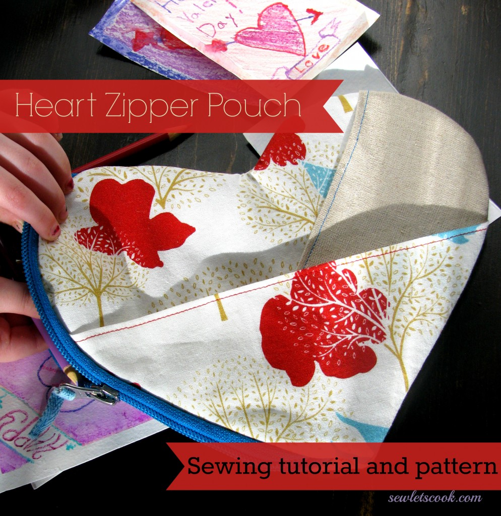 Heart Zipper Pouch from Sew Lets Cook